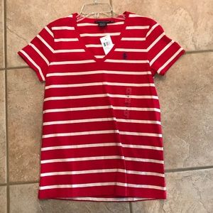 Red white and blue striped Ralph Lauren Tee